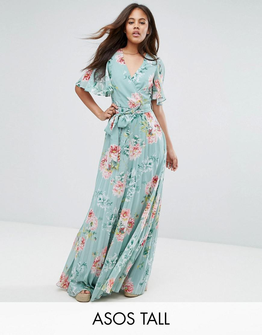 asos tall pleated maxi dress in floral print