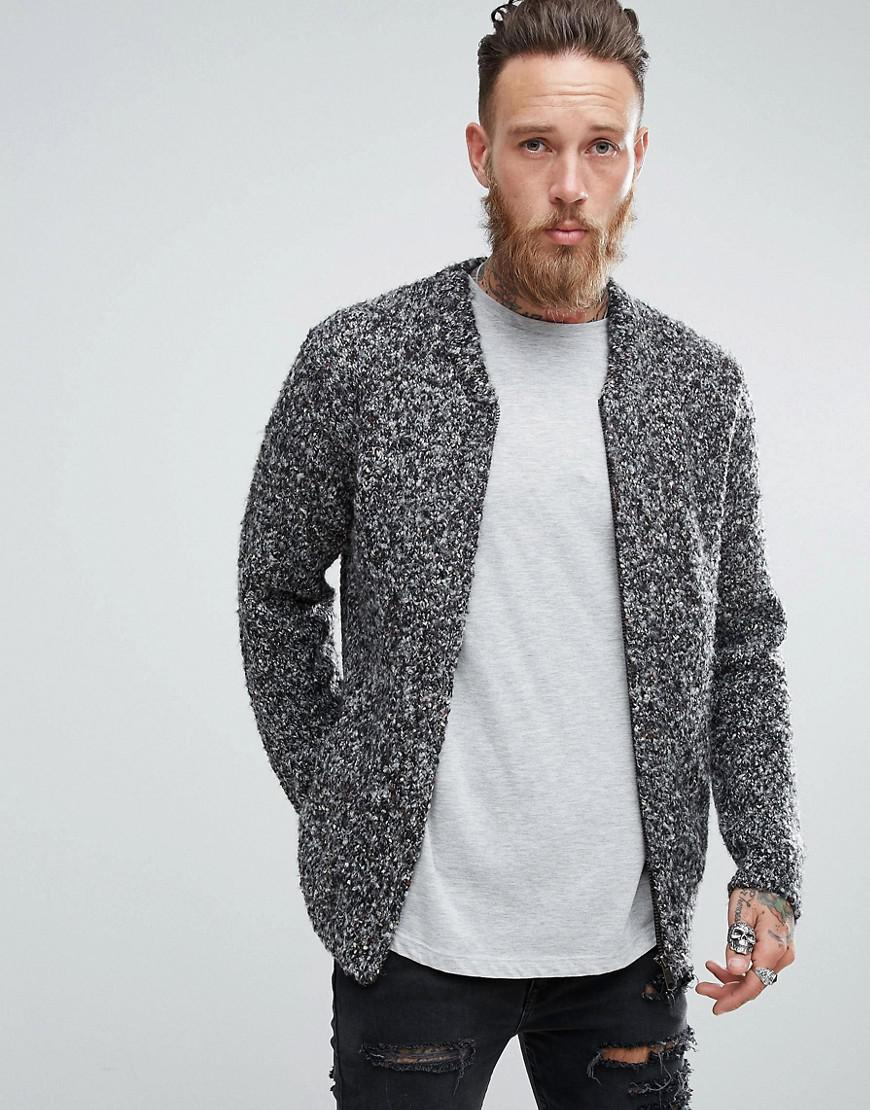 asos heavyweight knitted textured bomber in charcoal