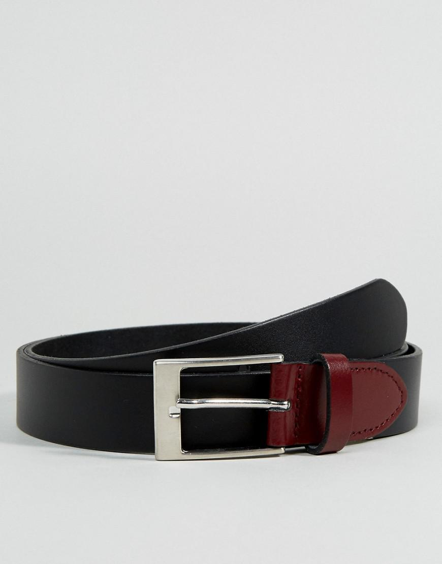 asos smart leather slim belt with contrast keeper