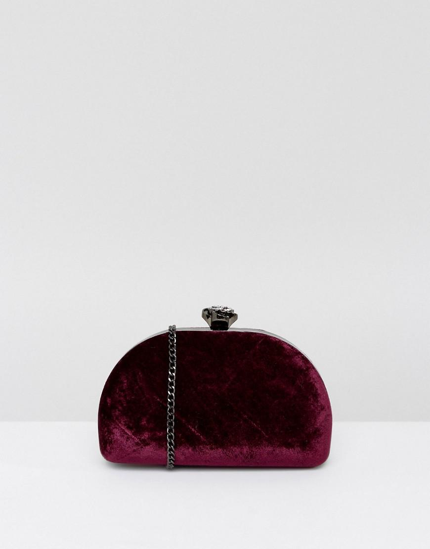 true decadence burgundy velvet half moon clutch bag