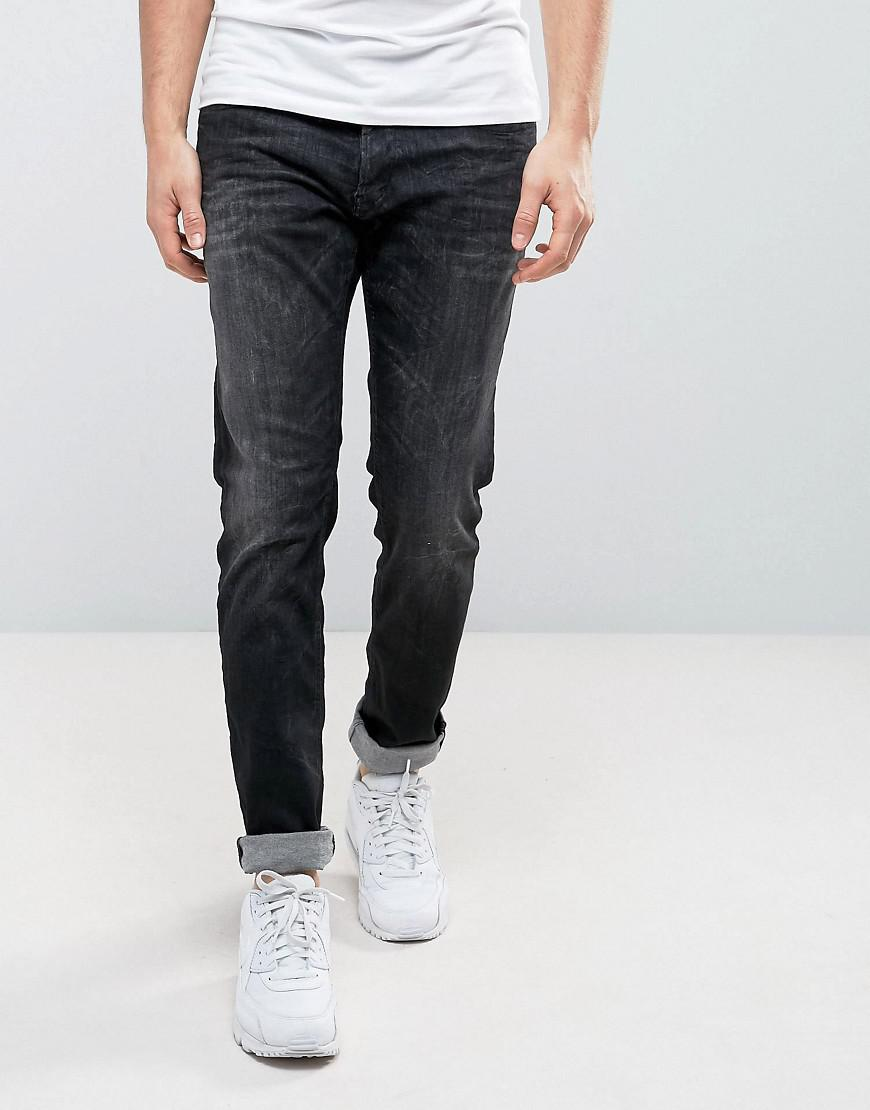 replay thyber slim taper powerstretch washed black