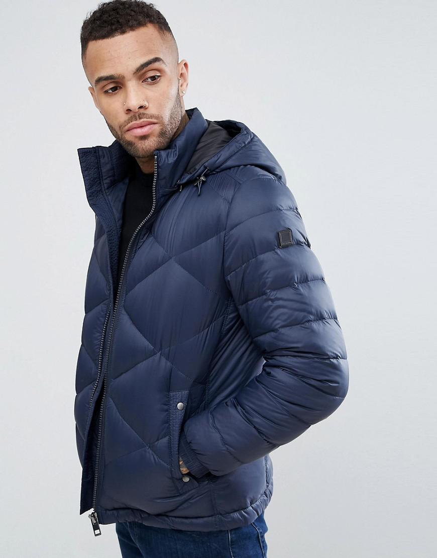 boss orange by hugo boss obaron removable hooded padded jacket in navy