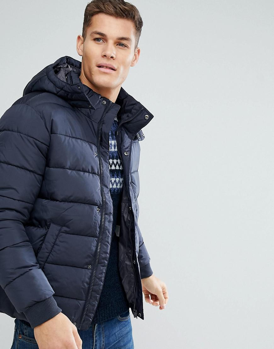 united colors of benetton padded jacket with removable hood in navy