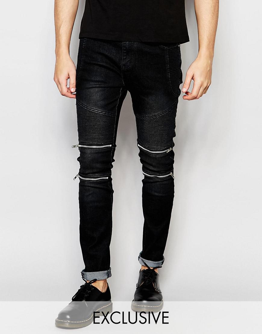 liquor n poker skinny zip biker jeans in black