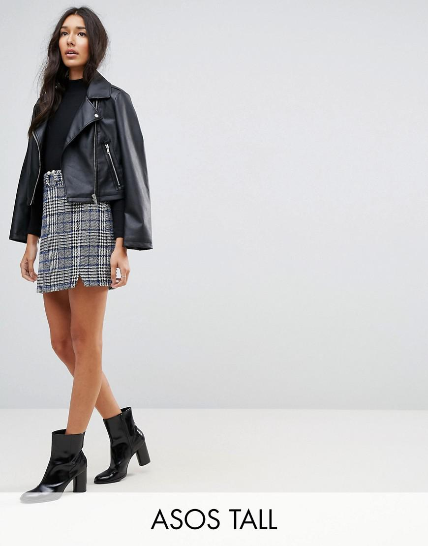 asos tall check mini skirt with faux pearl trim