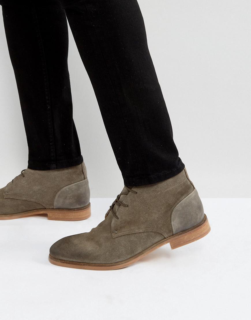 hudson london ryecroft suede desert boots in stone