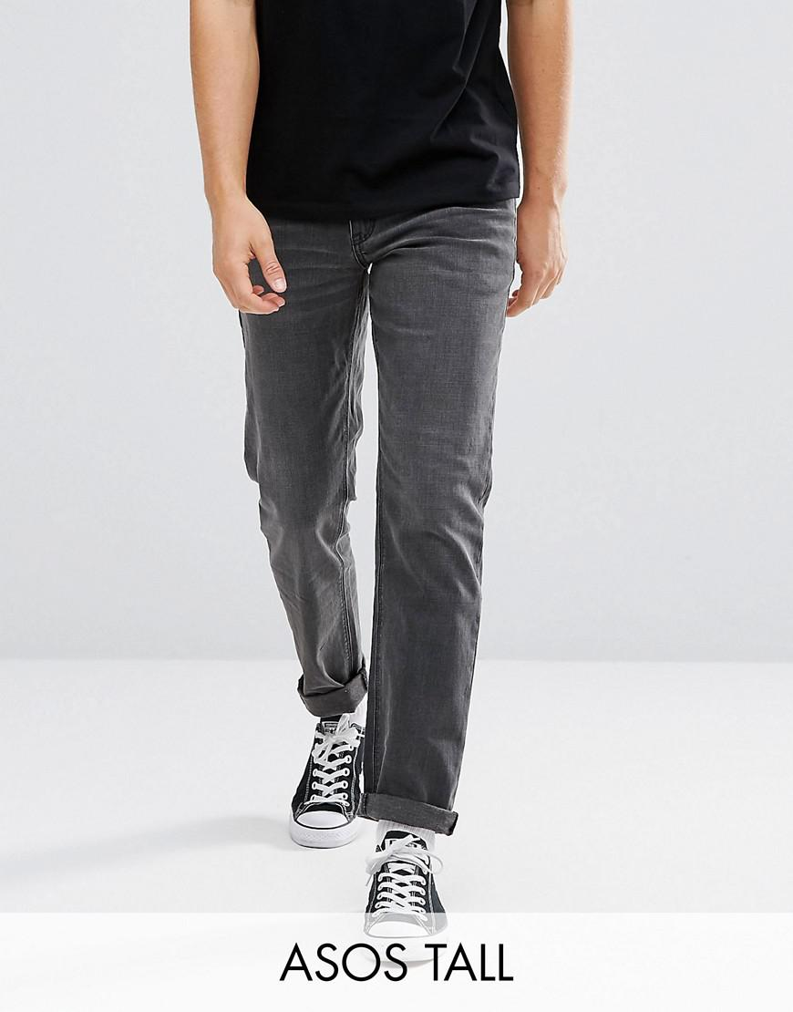 asos tall slim jeans in washed black
