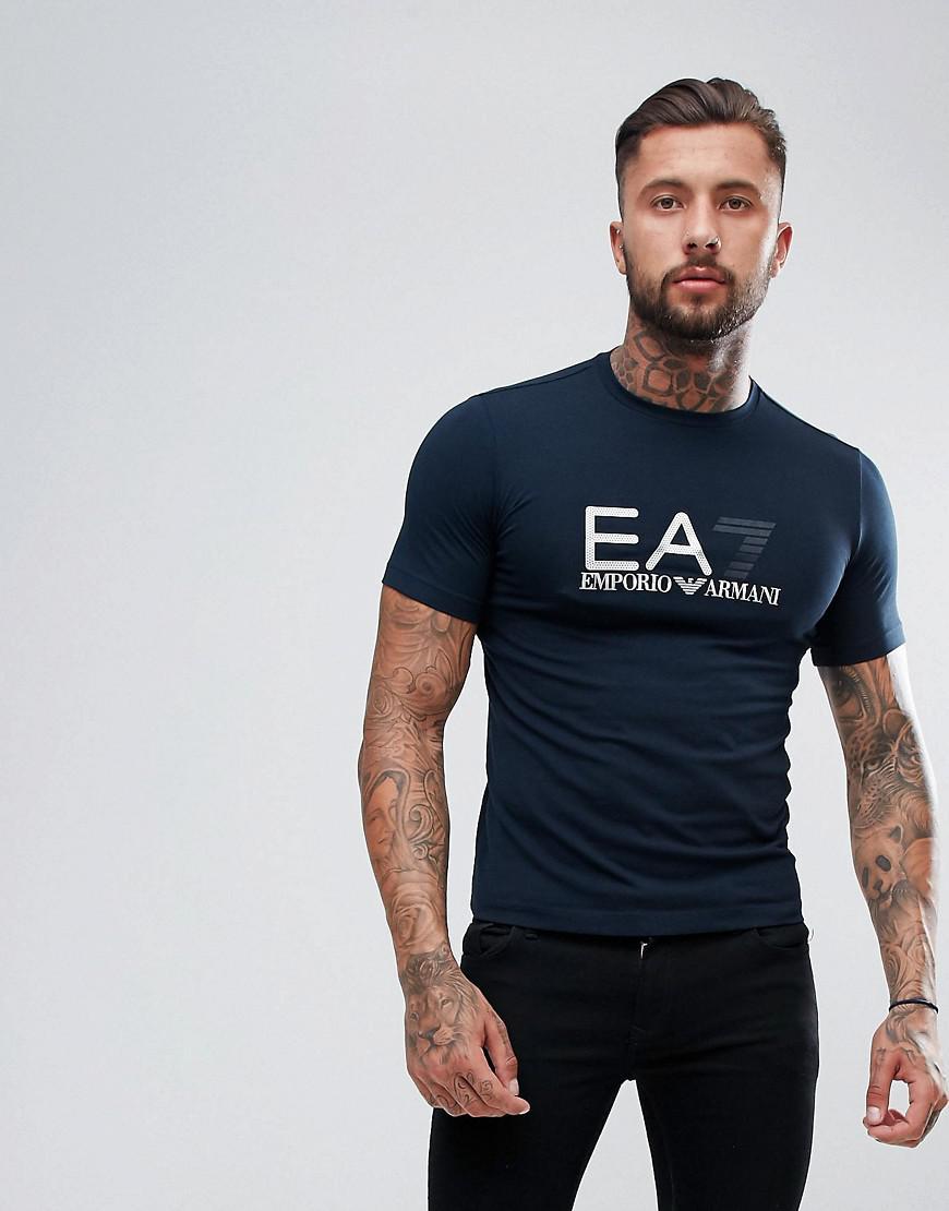 ea7 - t-shirt stretch avec logo métallisé sur la poitrine - bleu marine