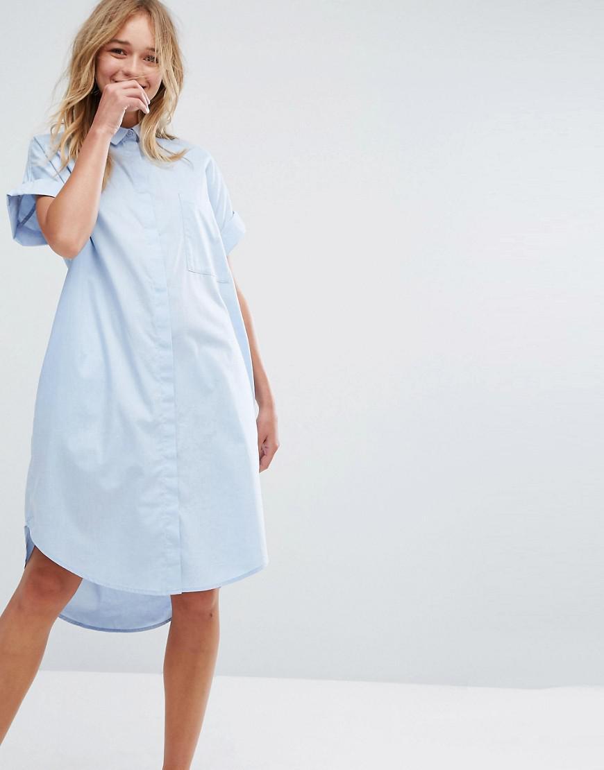 monki chambray shirt dress