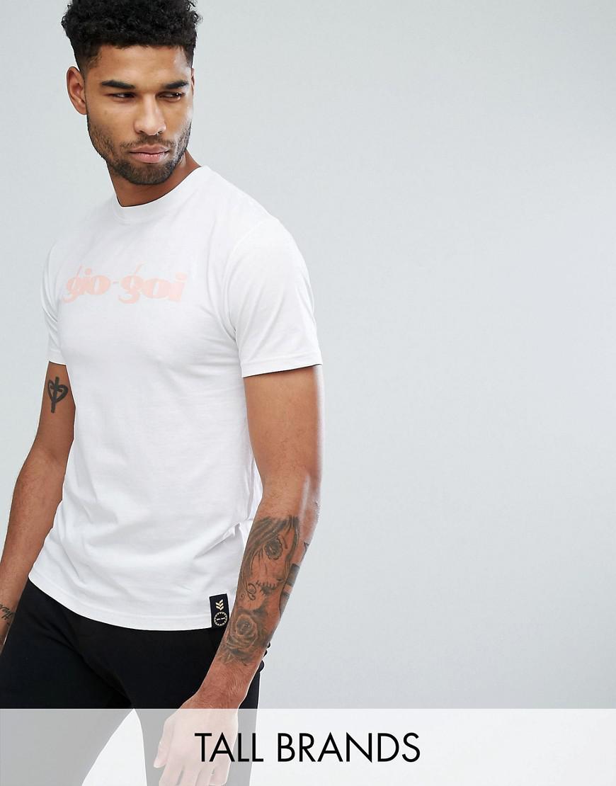 gio goi tall script logo t-shirt in white