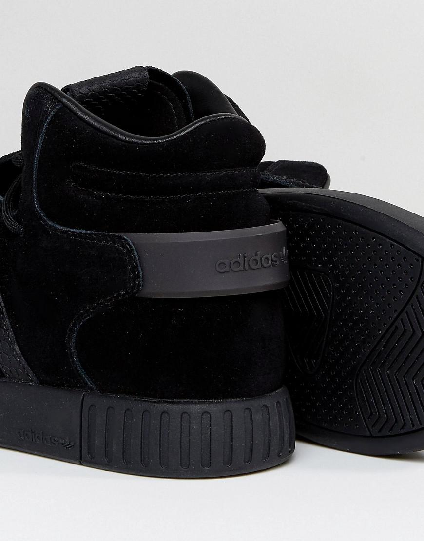 the latest 47ed1 68335 Adidas Originals Tubular Invader Strap Sneakers In Black By3632