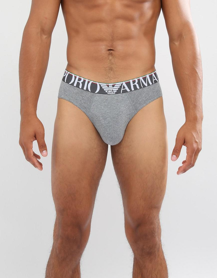 emporio armani large logo brief in gray