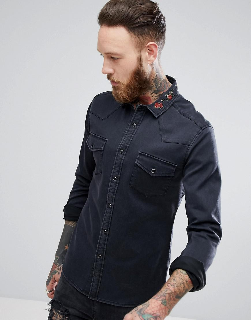 asos skinny denim shirt with floral embroidered collar in black