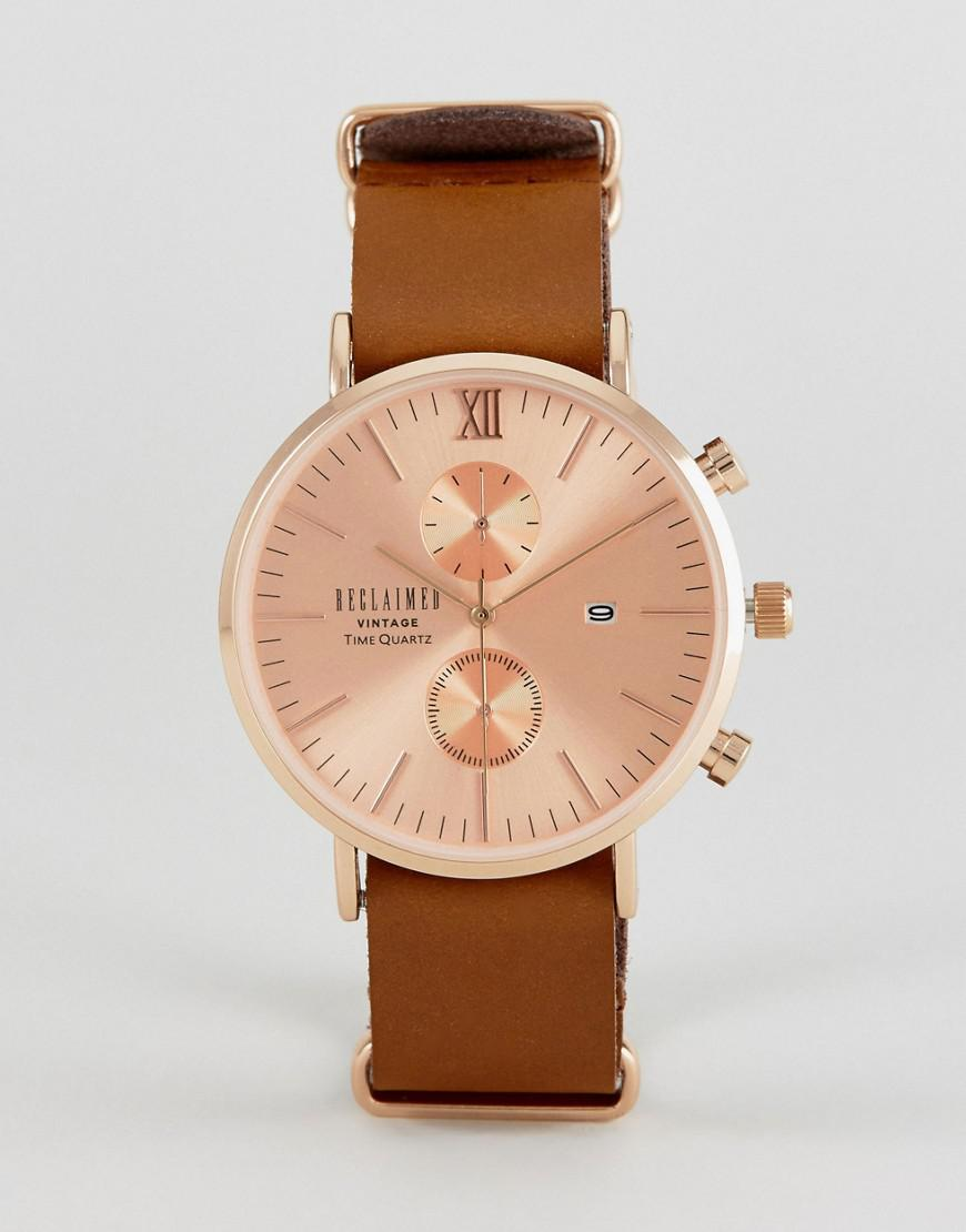 reclaimed vintage inspired rose gold chronograph leather watch in brown exclusive to asos