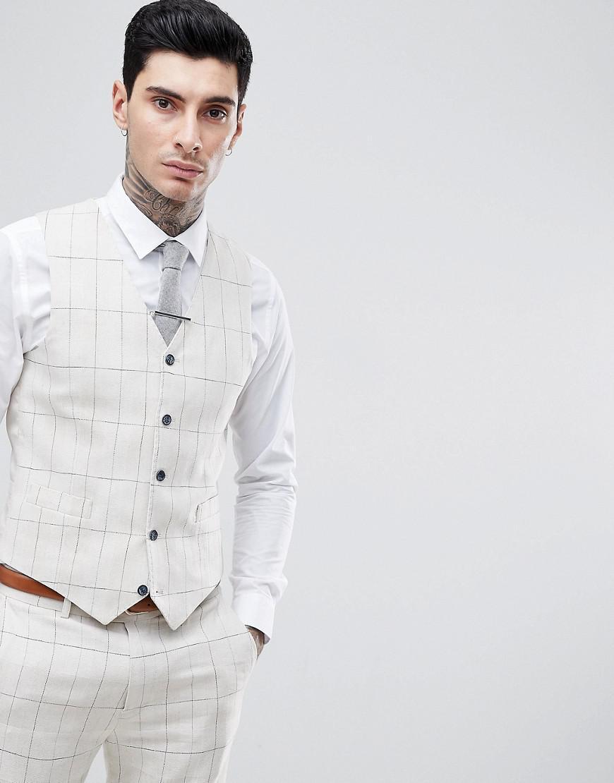 gianni feraud skinny fit wedding windowpane check vest