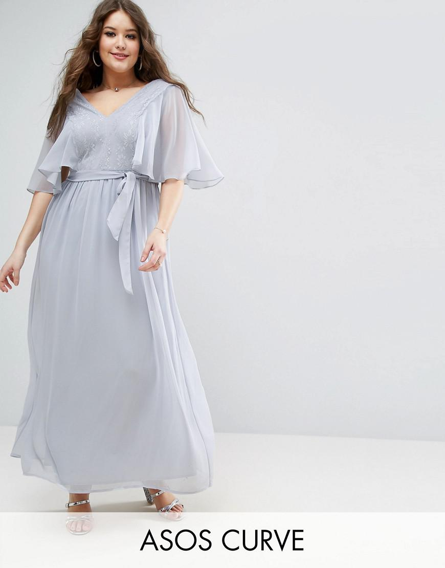 asos curve lace paneled flutter sleeve maxi dress
