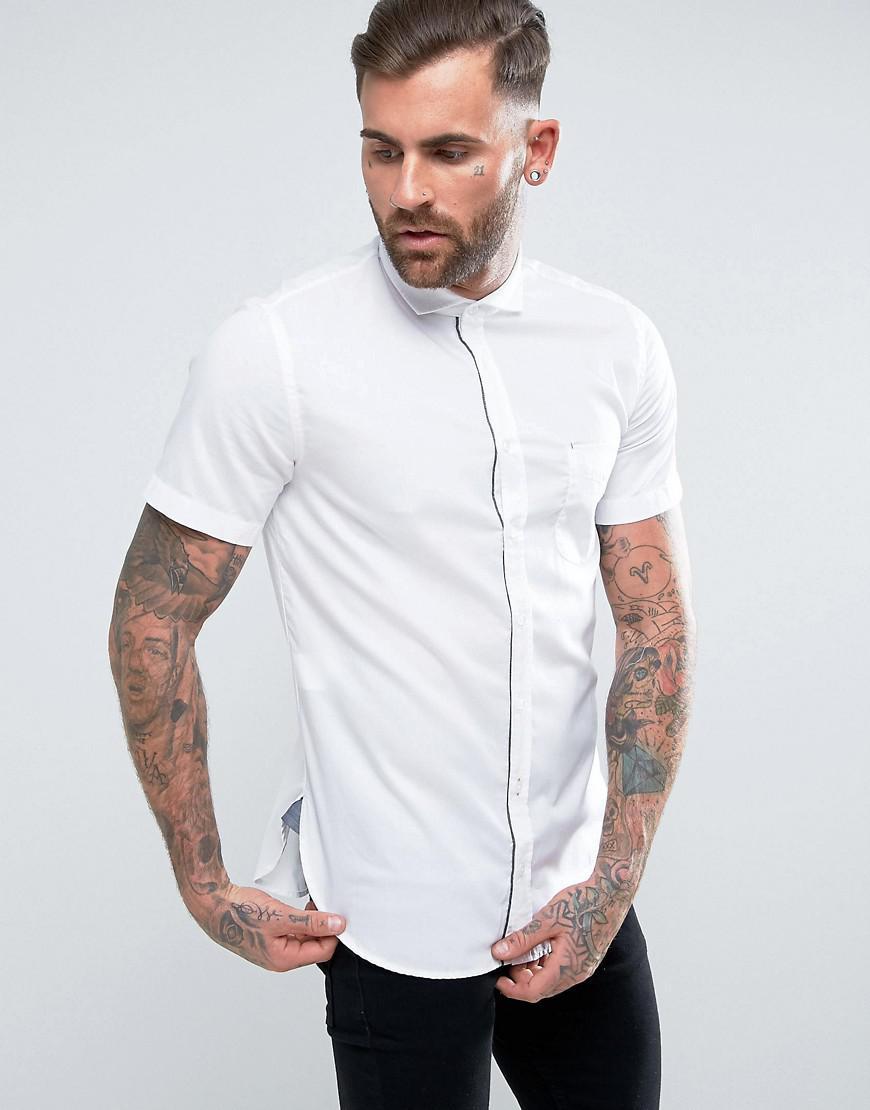 boss orange by hugo boss cattitude slim fit short sleeve shirt white