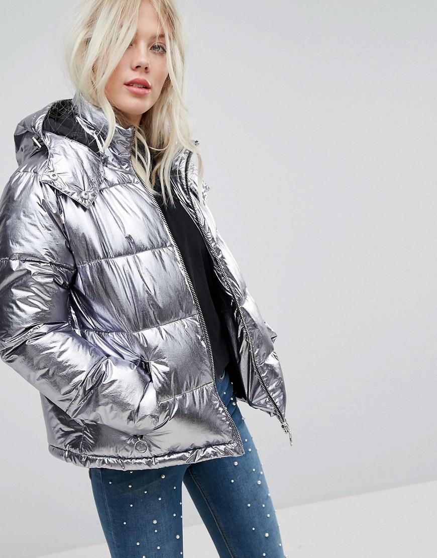 miss selfridge metallic padded jacket
