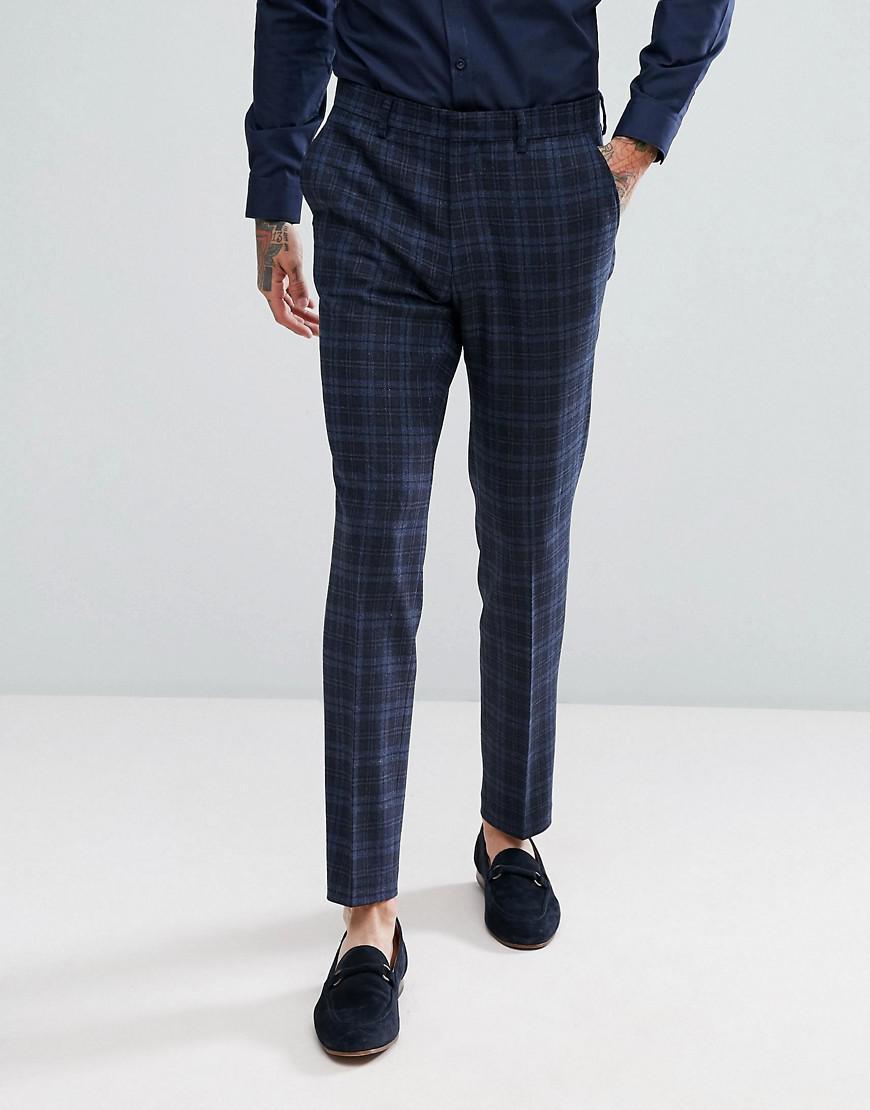 asos skinny suit pants in blue wool mix plaid