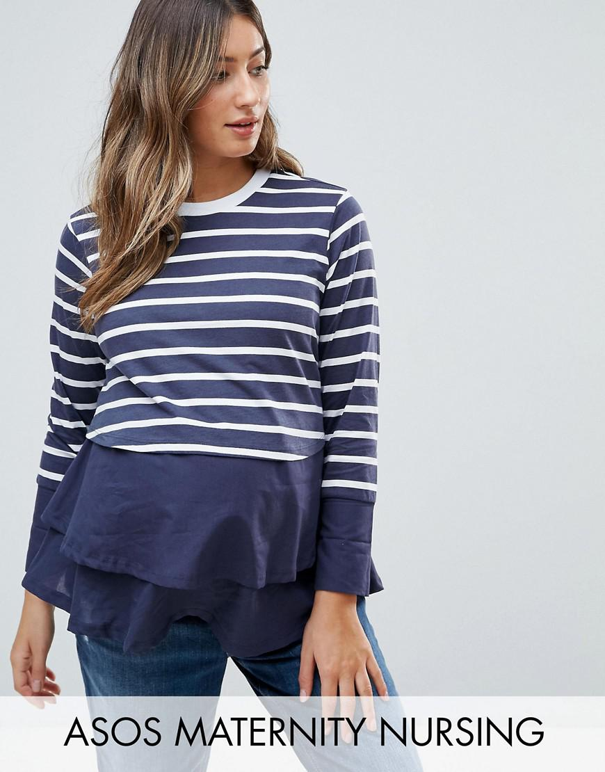 asos maternity nursing long sleeve double layer top in navy stripe