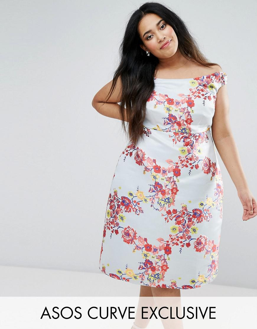 asos curve salon summer jacquard bardot prom dress