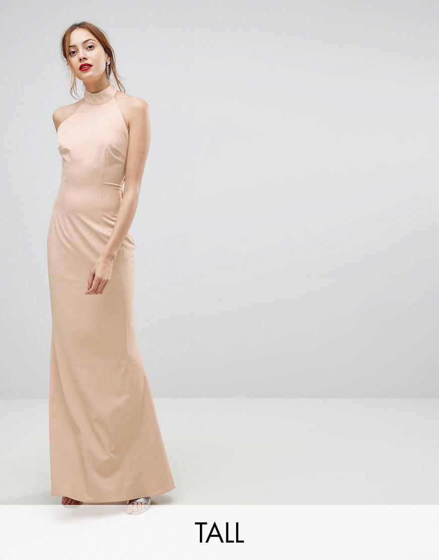 jarlo tall high neck ruched open back maxi dress
