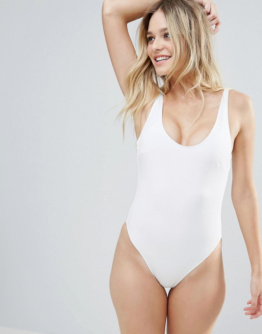 wolf & whistle white textured gold zip swimsuit b-f cup