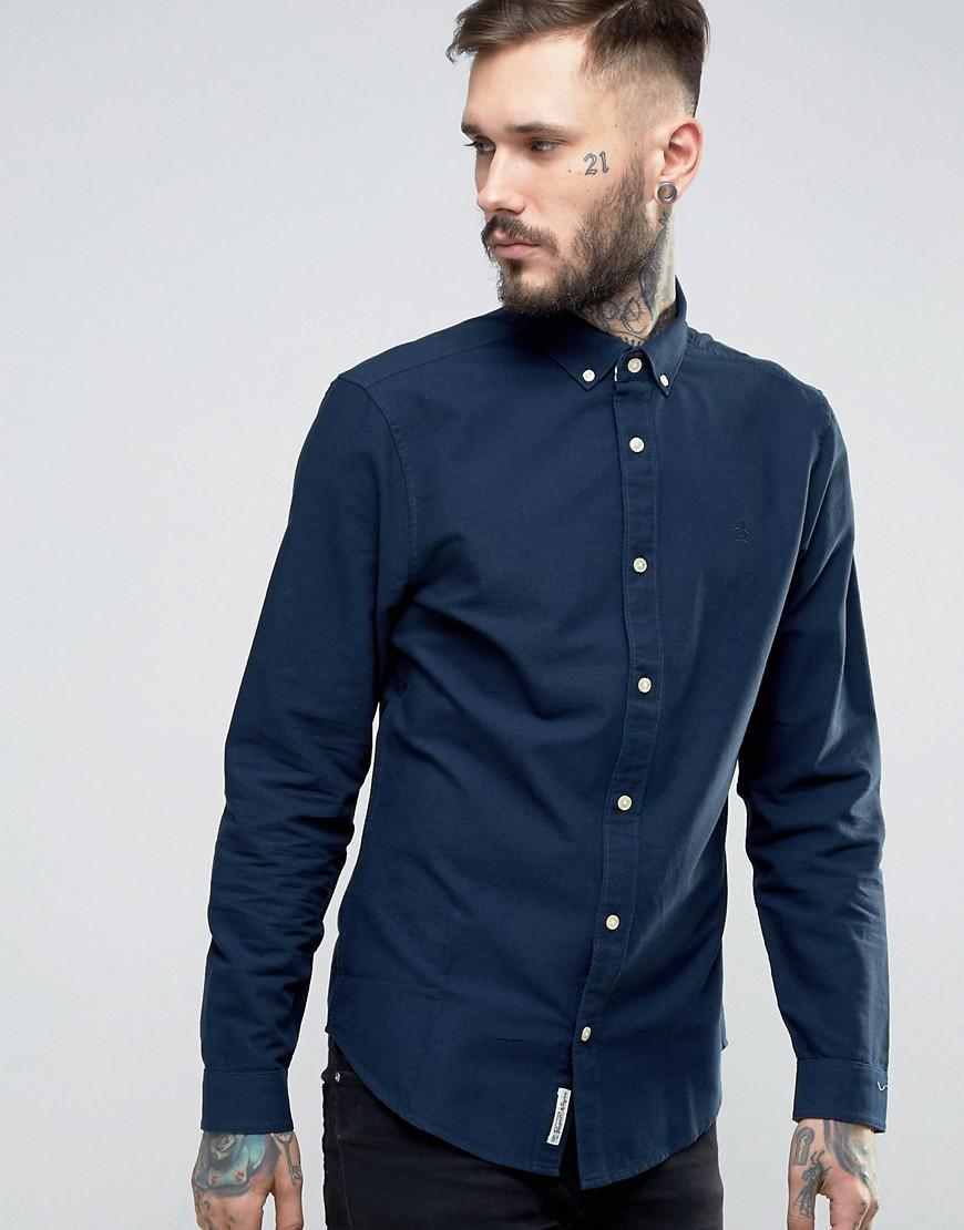 original penguin slim oxford shirt buttondown tonal logo in navy