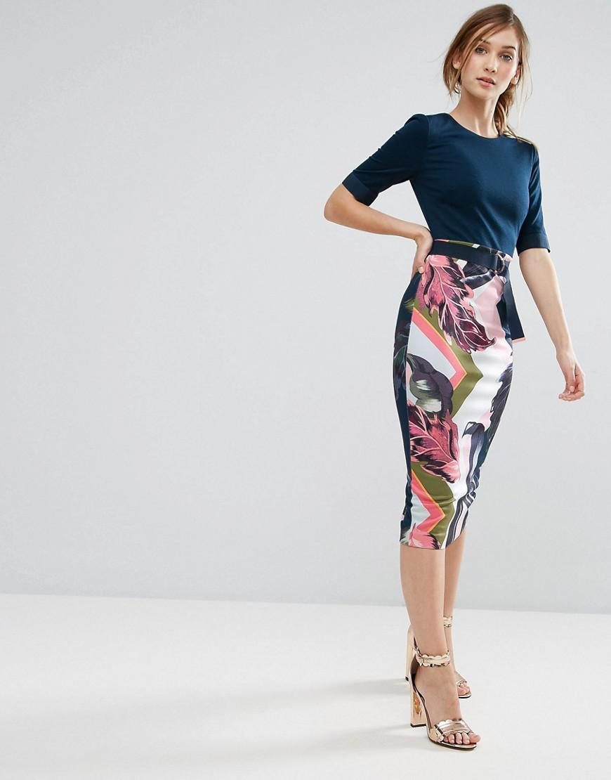 ted baker pencil dress in contrast print