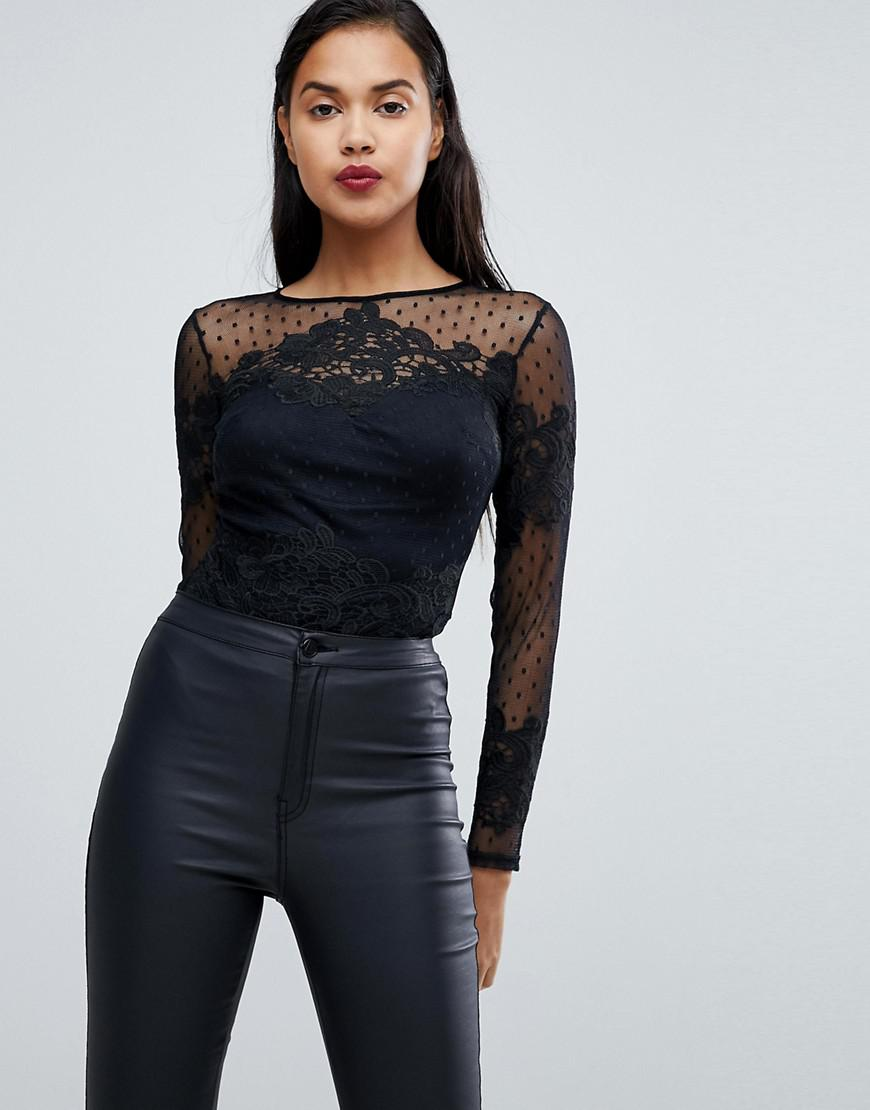 lipsy lace sleeve detail body