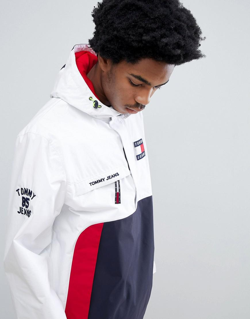 468254421 Fashion clothing | Tommy Jeans 90S Sailing Capsule Overhead Hooded Sailing Jacket  In WhiteNavyRed | Modysta