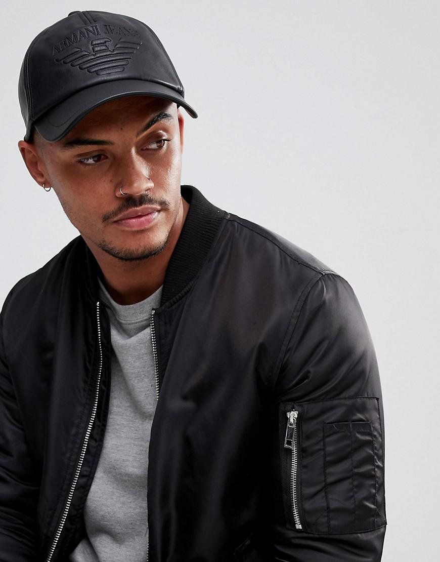 armani jeans faux leather baseball cap in black