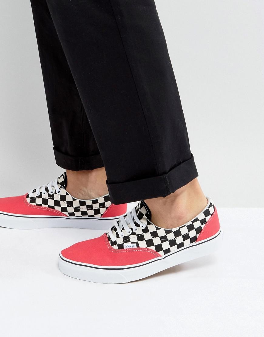 vans era checkerboard sneakers in red va38frmv5