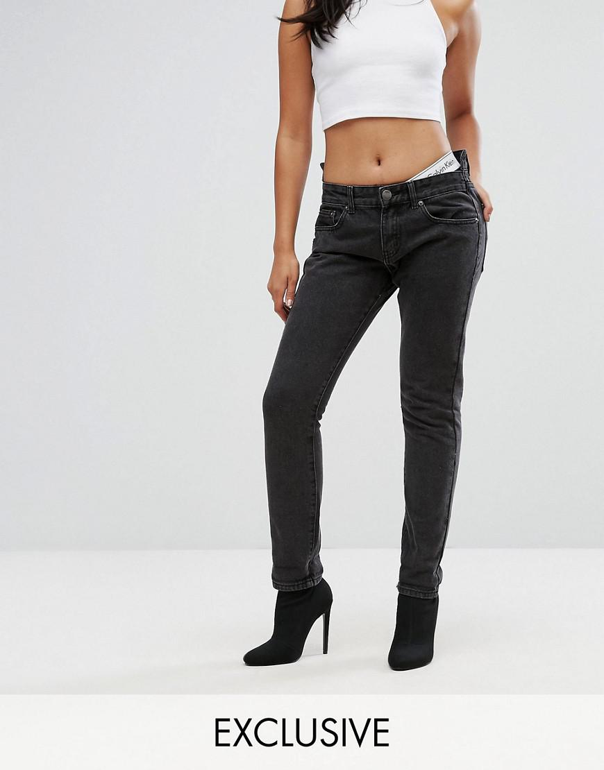 liquor n poker boyfriend jeans with stepped waist