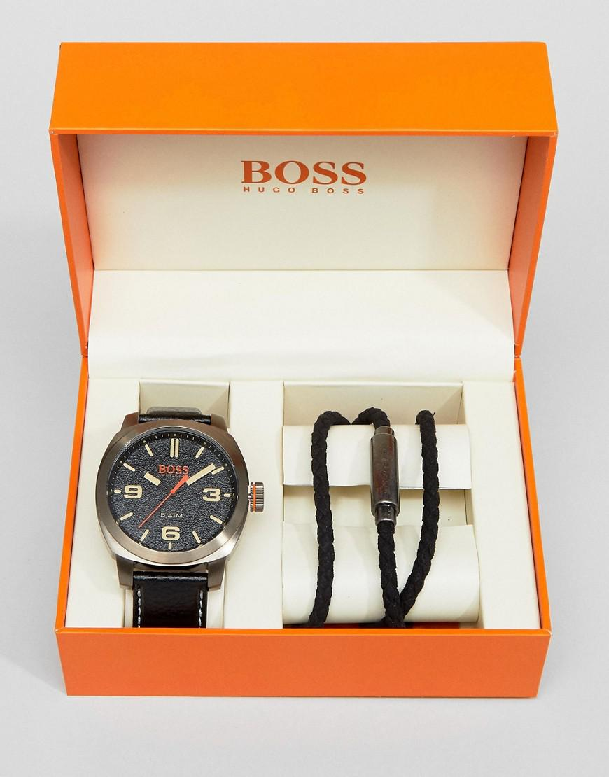 boss orange by hugo boss watch & bracelet gift set in black