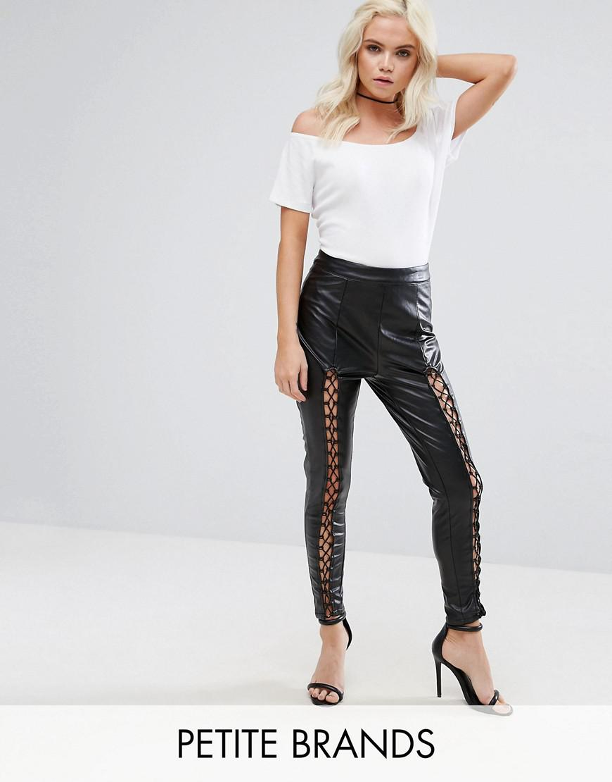 missguided petite lace up leather look pants