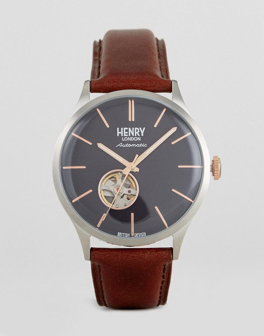 henry london automatic mechanical leather watch in brown