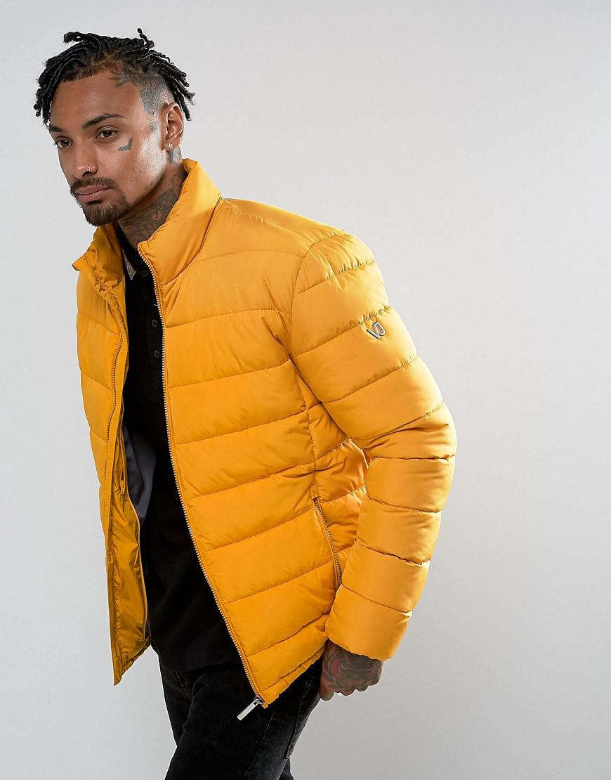 versace jeans puffer jacket in yellow