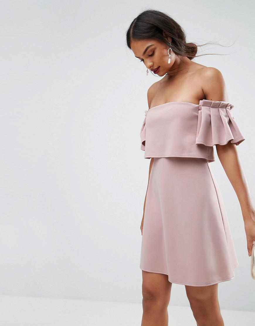 asos scuba crop top ruffle bardot mini dress