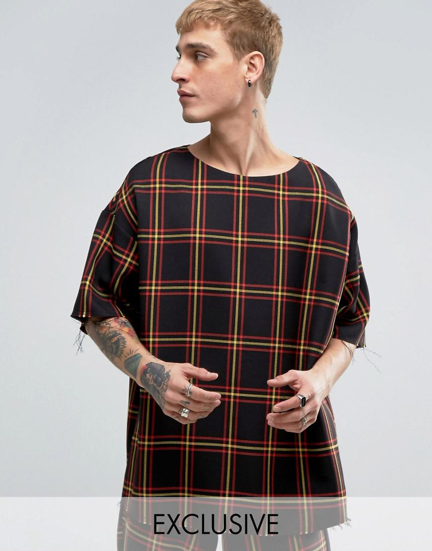 reclaimed vintage inspired oversized t-shirt in check