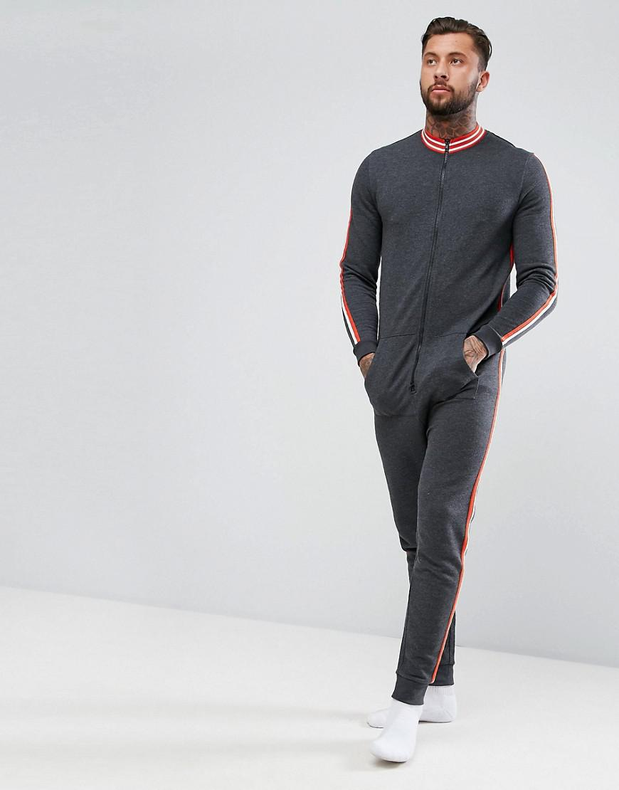 asos track neck onesie with tipped ribs & sleeve stripe