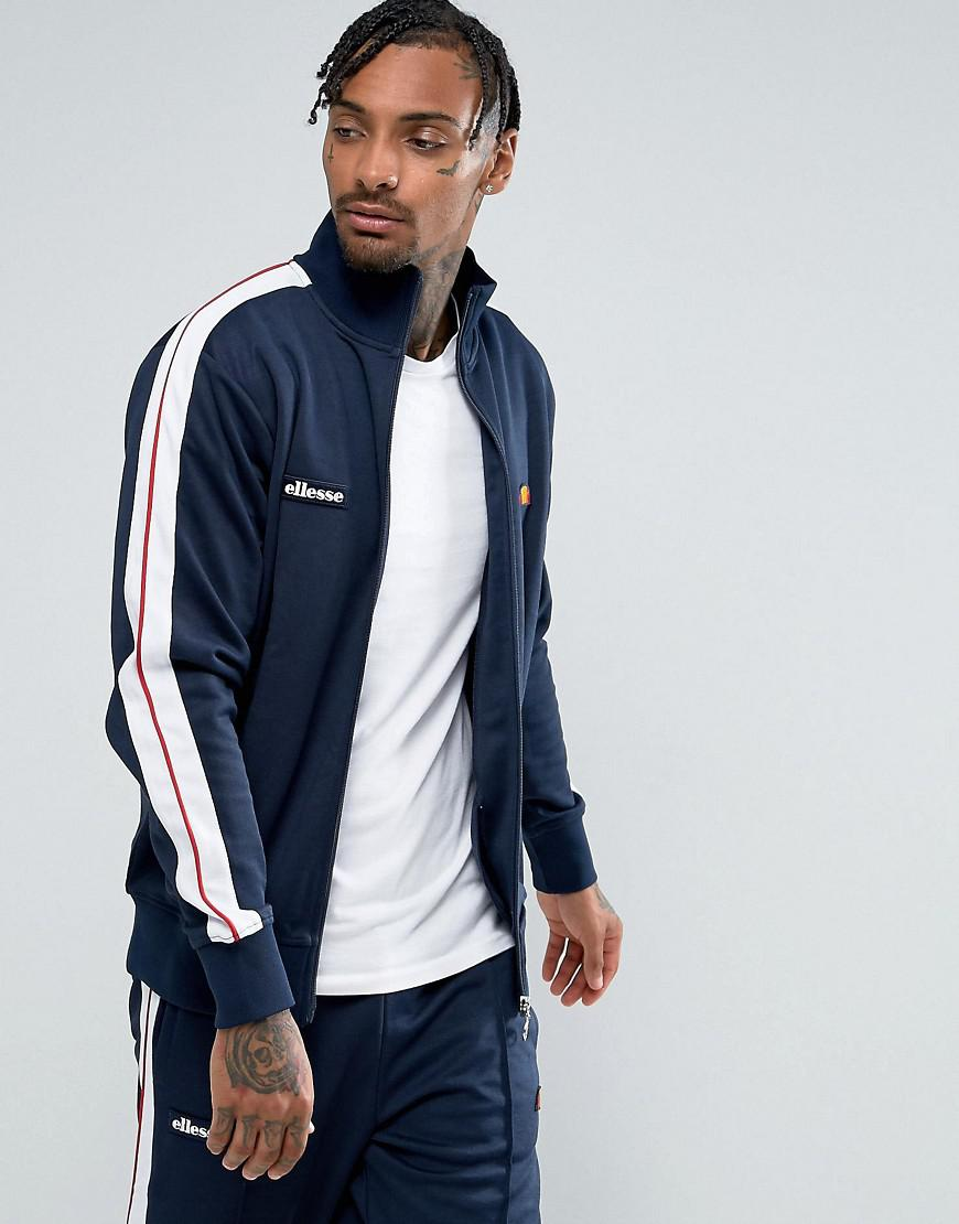 ellesse track jacket with taping in navy
