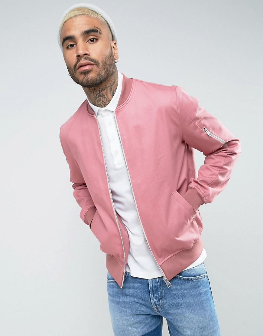asos cotton bomber jacket with sleeve zip in pink