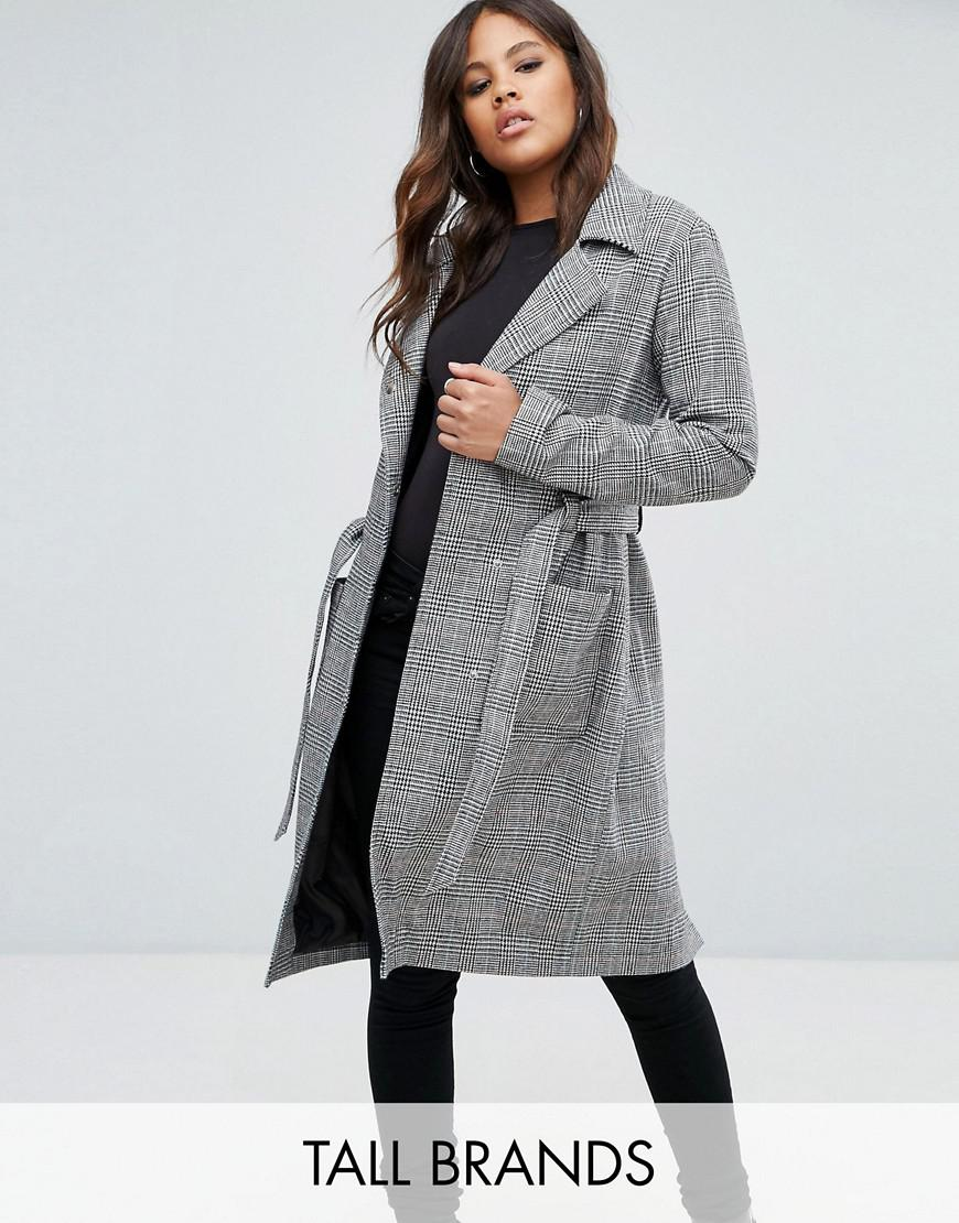missguided tall check tie waist trench coat
