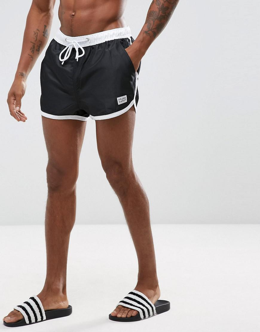 frank dandy swim shorts with contrast waistband in black