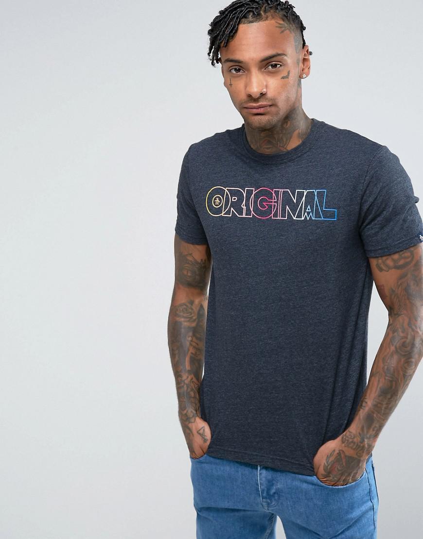 original penguin t-shirt rainbow original logo slim fit in navy marl