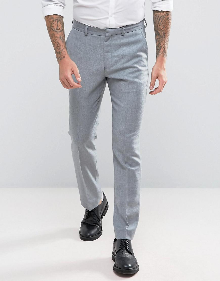 asos wedding slim suit pants in light gray 100% merino wool
