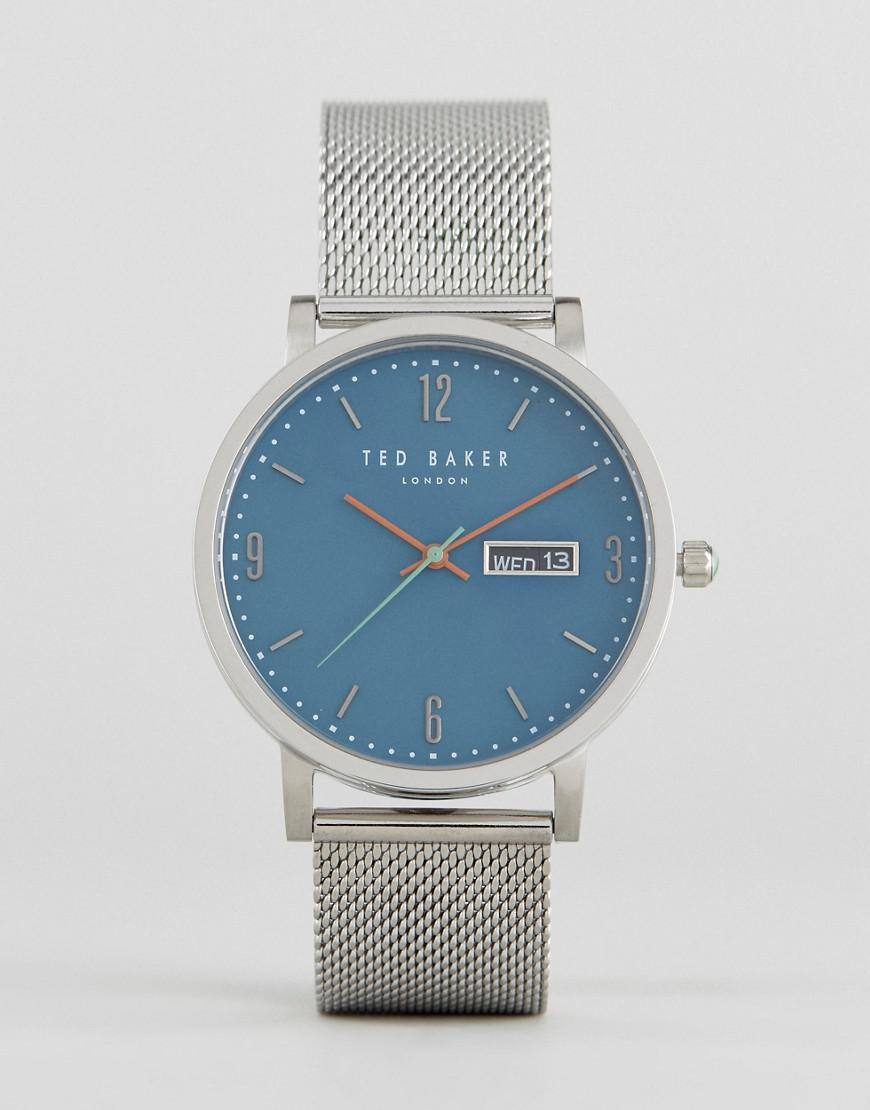 ted baker grant mesh watch in silver