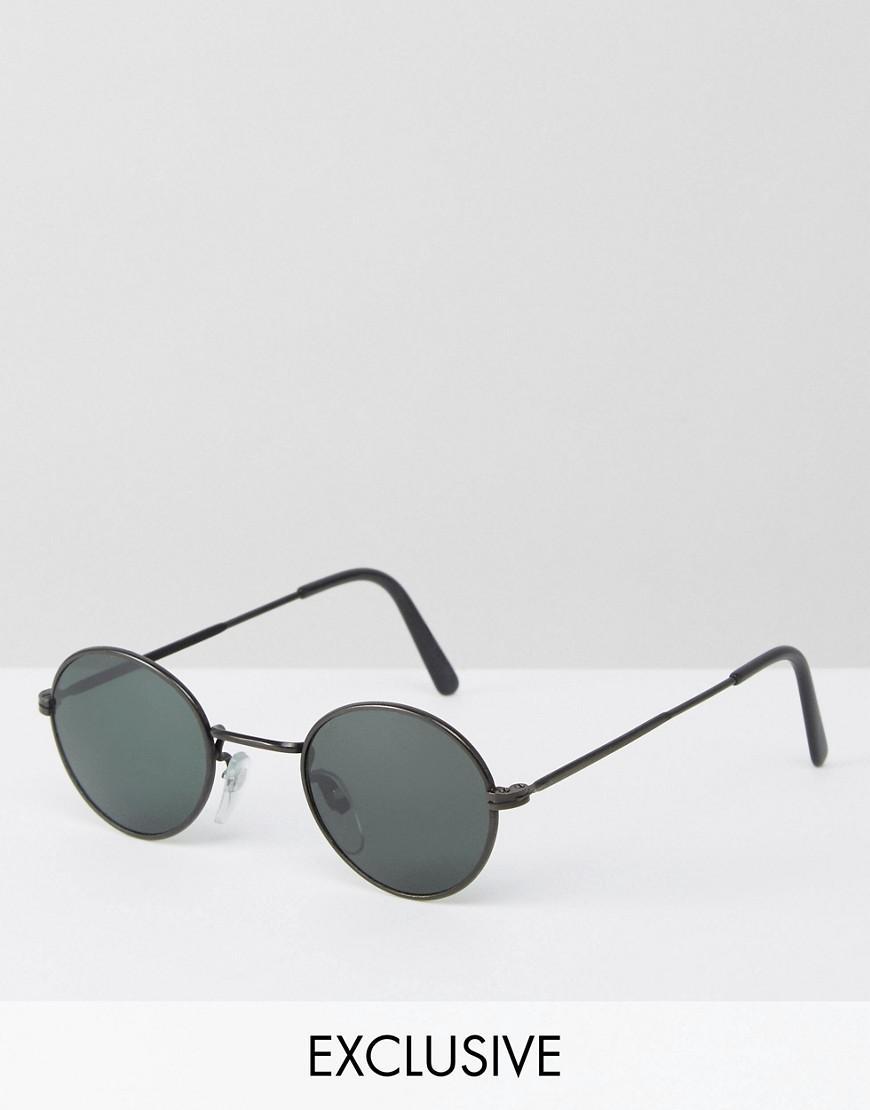 reclaimed vintage inspired metal round sunglasses in black