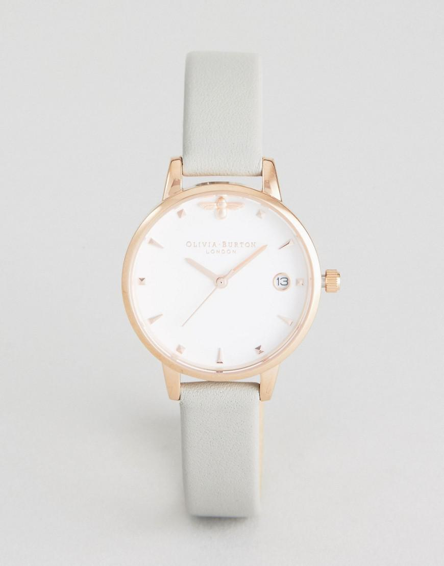 olivia burton ob16am126 queen bee leather watch in gray